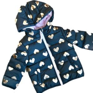 NWT Carter's Gray Hearts Fleece Lined Puffer Coat